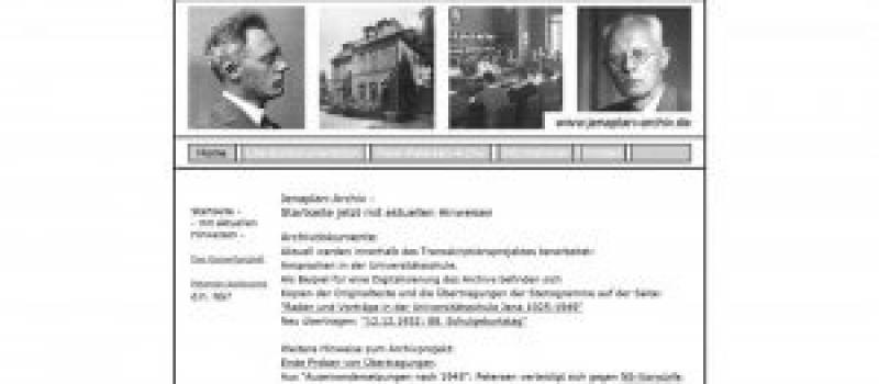 Screenshot Jenaplan Archiv